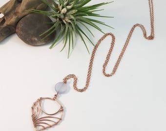 Rose Gold Filled Petal and Blue Chalcedony Coin Necklace- N440RG -handmade wire jewelry by cristysjewelry