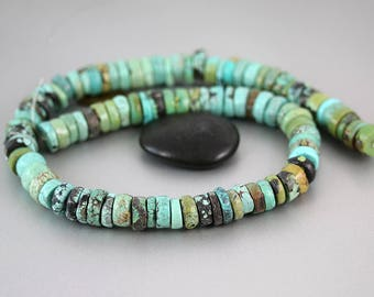 Chinese Turquoise Beads - Wheels - Chinese Turquoise - 11-13mm