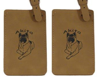 Akita Laying Luggage Tag 2 Pack L1128  - Free Shipping