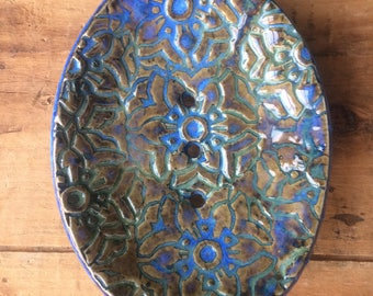 Blue Green Patterned Soap Dish