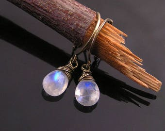 Rainbow Moonstone Earrings, Moonstone Jewelry, Solitaire Earrings, Hoop Earrings, Gift for Women, Handmade Earrings, Dangle Earrings, E2127