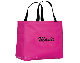 9 Bridesmaid Gift Personalized Tote Bags, Custom Embroidery Wedding Party Gift