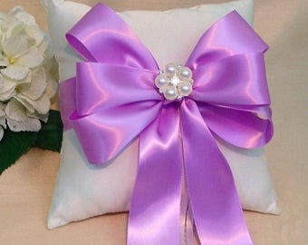 On Sale 20% Off Orchid Ring Bearer Pillow - Ivory Ring Pillow - White Ring Pillow - Orchid Wedding - Orchid Ring Pillow - Bridal Pillow  - C