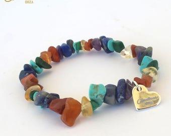 Rainbow Gemstone Chakra Bracelet - Handmade In Ibiza with Pure Gemstone Chip Beads. Chakra Balance. Rainbow Chakra. Crystal Healing. Ibiza