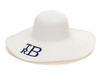 SALE  Floppy Beach Hat Personalized Floppy Sun Hat - Monogram Floppy Hat -