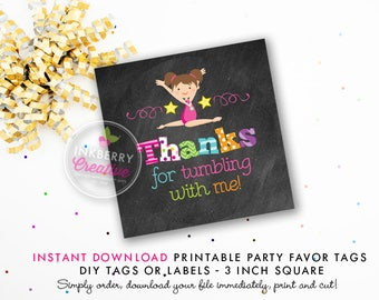 Girls Gymnastics Tumble Birthday Party Favor Tags (Brown Hair) - Chalkboard Style - Printable 3 inch Square - Instant Download PDF File