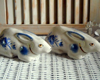 STAFFORDSHIRE England Hand Painted Rabbits - Blue White Decor - French Country Bunny Figurines - Crackle Art Rabbit -