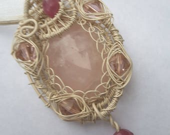 Rose Quartz Pendant- Wire Wrapped and Woven  -  Antique White  on Copper Wire -  Raw Rubies  -Swarovski Crystals-
