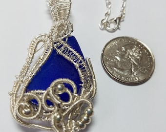 Wrapped and Woven Sea Glass Jewelry-Silverplated Wire and chain-Cobalt Blue Sea Glass-adjustable chain