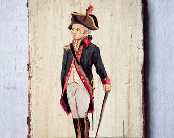 Antique Vintage Painting On Wood British War Line Officer 1779-83 By Lippman