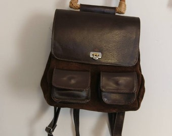 Vintage Retro Leather Suede Mini Backpack
