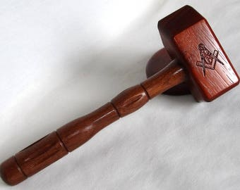 Masonic Gavel Set - Exotic Padauk and Jatoba Wood - Engraved Compass and Square Symbol Each Side of the Head - Common Gavel