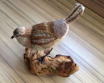 Little brown bird  Hand sewn textile bird