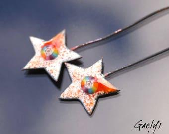 Plaques sur tiges - Paires de plaque cuivre émaillé pour boucles d'oreille - ivoire / orange et murine arc en ciel