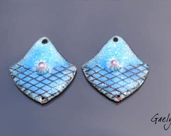 Email - Paire de plaque cuivre émaillé pour boucles d'oreille - bleu / murine / resille - breloque - connecteur - Emaux Gaelys