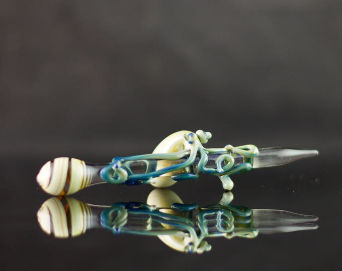 Octopus Glass Dabber / Essential Oil / Glass Wand / Glass Dabber Heady / Dabber Nail / Clear & Blue Caramel / Ready to Ship, #524