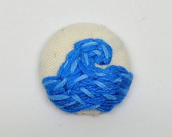 Blue Ocean Wave Button Embroidery Handmade Beach Vacation Water Summer Surf