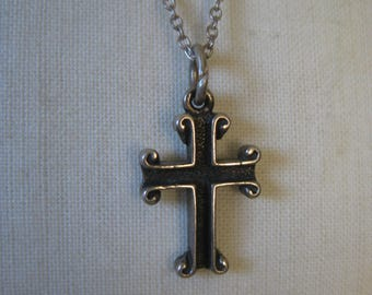 Cross Christian Sterling Necklace Vintage Pendant 925 Silver
