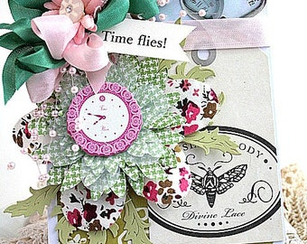 shabby chic card-FLOWER CLOCK-time FLIES-greeting