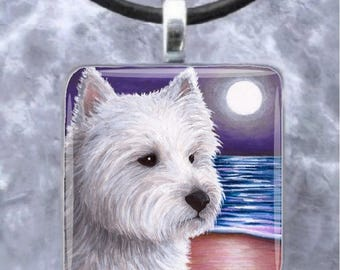 Art Glass Pendant Earrings Dog 81 White Westie Jewelry painting by L.Dumas