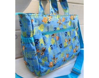 Finding Nemo handmade diaper bag, adjustable strap, elastic side pockets, disney, dory, squirt, baby, nappy, travel bag, maineteam, custom