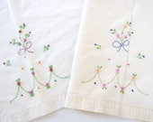 2 Vintage Tea Towels, Dainty Hand Embroidered Flowers