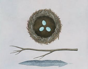 "Building A Nest 1 - Original Contemporary Art - 16x16"" Nature Painting - by Natasha Newton"