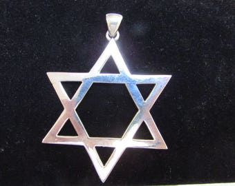 Extra Large Star of David Pendant, Solid Sterling Silver 925, 2 1/2 inch, Thick and Heavy David Star, Amazing and Classic Charm