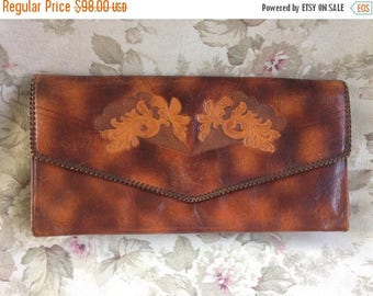 ON SALE 1940's 50's giant Meeker Steerhide tooled leather clutch purse brown tan