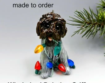 Wirehaired Pointing Griffon Dog Made to Order Christmas Ornament Figurine in Porcelain