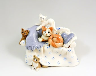 Cat Kittens Couch Sculpture Figurine Dollhouse Scale OOAK Porcelain