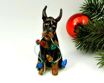 Doberman Pinscher  Min Pin Christmas Ornament Figurine lights Porcelain