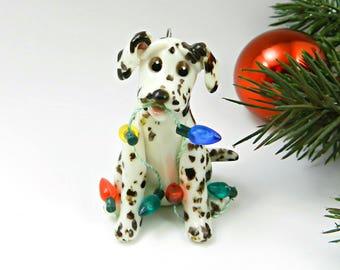Dalmatian Liver Christmas Ornament Figurine Lights Porcelain
