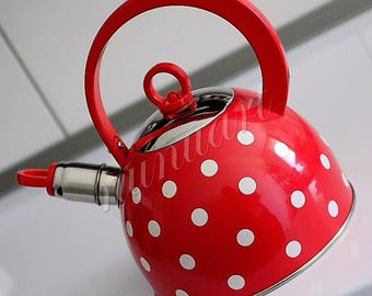 Hungarian Enamel Stainless Steel With Polka Dot Teapot Whistling Kettle 2,5l