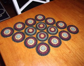 Penny Rug Table Runner 13x20 Cranberry and Teal Pennies