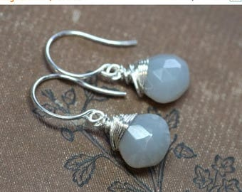 SALE Gray Moonstone Earrings Rustic Silver Wire Wrapped Smoke Grey Gemstone Earrings