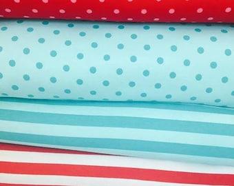 Dots and stripes bundle 1/2 yard of each cotton lycra knit