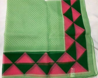 Beautiful Green and Pink Vintage Morsly of New York Square Scarf. Bright Pretty Spring Head or Neck Wrap. Made in Italy