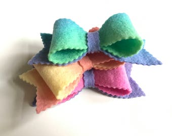 Wool Felt Bows, Pure Wool Felt, Big Felt Bows, Set of Three, Hand Dyed Wool, Doll Making, Hair Bow, Hat Band, Planner Accessory, Gift Wrap