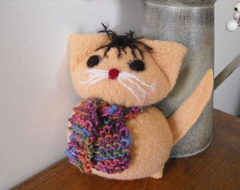 Cat, Kitten, Barn Cat, Recycled Wool Sweater, Toy,  Repurposed Cat, Knitted Cat, Gaspe