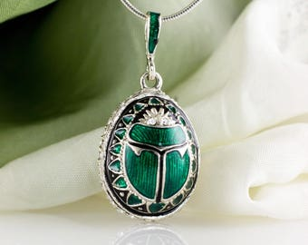 Scarab Jewelry Necklace Silver Scarab Green & Black Enamel Jewelry Sterling Silver Egg Pendant Swarovski Crystals Christmas Gift For Her