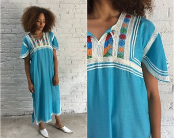 vintage 70s embroidered caftan / 1970s boho maxi dress turquoise floral embroidery tunic kaftan