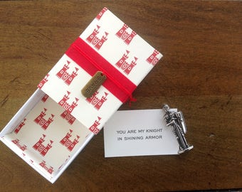 Knight in Shining Armor Message Box with fabric gift bag
