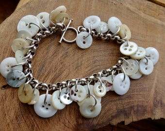 Sterling Silver Mother of Pearl Button Charm Bracelet; Antique White MOP Buttons; Handmade Bride's Bracelet