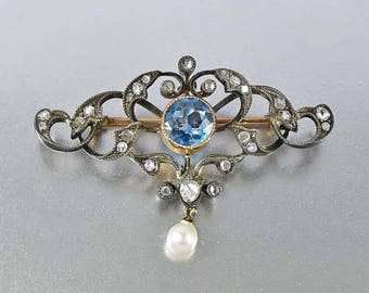 Edwardian Aquamarine Diamond Brooch, 12K Gold Pearl Brooch, Silver Heart Antique Brooch, Blue Aquamarine Love Token Rose Cut Diamond Pin