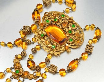 Art Deco Necklace, Czech Glass Bead Rhinestone Necklace, Antique Jewelry, 1920s Jewelry, Art Deco Jewelry, Czech Necklace, Gold Filigree