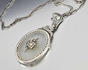 Antique Rock Crystal Diamond Necklace | 14K Gold Necklace | Art Deco Camphor Glass Pendant Necklace | Crystal Quartz | Edwardian Necklace