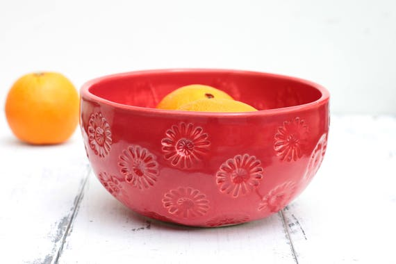 red flower stamped stoneware bowl
