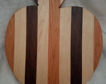 wooden Apple shaped  cutting board in cherry, maple, walnut