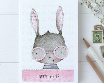 "greeting card - card - bunny - glasses  - happy easter- ""Rose Coloured Glasses!"""